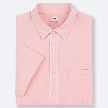 MEN EXTRA FINE COTTON SHORT-SLEEVE SHIRT, PINK, medium