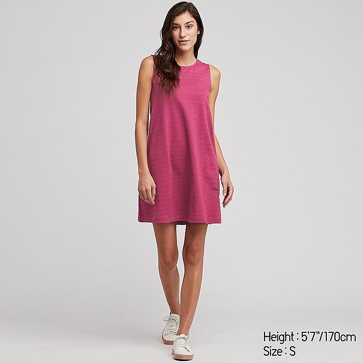 WOMEN JACQUARD SLEEVELESS DRESS (ONLINE EXCLUSIVE), PINK, large