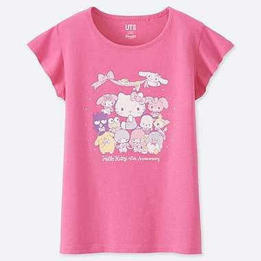 GIRLS SANRIO CHARACTERS GRAPHIC PRINT T-SHIRT