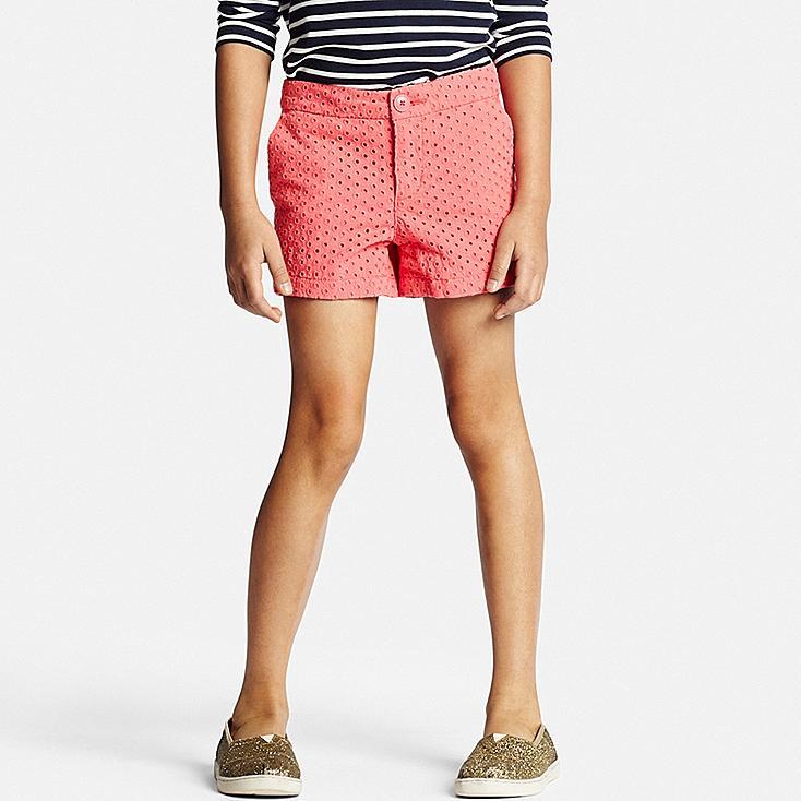 GIRLS Eyelet Shorts, RED, large