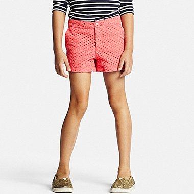 Girls Eyelet Shorts, RED, medium