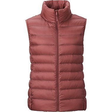 Womens Ultra Light Down Vest, RED, medium
