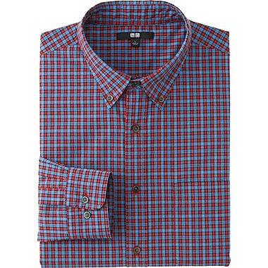 MEN EXTRA FINE COTTON BROADCLOTH CHECKED LONG SLEEVE SHIRT, RED, medium