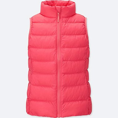 GIRLS LIGHT WARM PADDED VEST, RED, medium