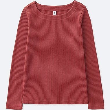 GIRLS RIBBED BOAT NECK LONG SLEEVE T-SHIRT