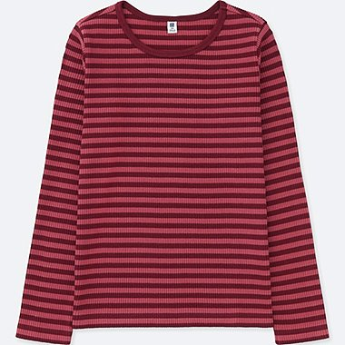 GIRLS RIBBED STRIPED CREW NECK T-SHIRT