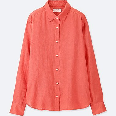 WOMEN PREMIUM LINEN LONG-SLEEVE SHIRT, RED, medium