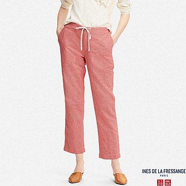 WOMEN IDLF COTTON LINEN EASY PANTS, RED, medium