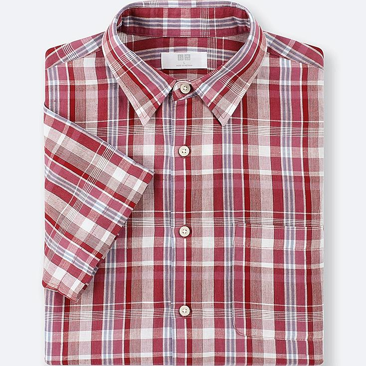 MEN LINEN COTTON CHECKED SHORT-SLEEVE SHIRT, RED, large