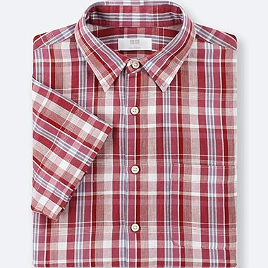 MEN LINEN COTTON CHECKED SHORT-SLEEVE SHIRT, RED, medium