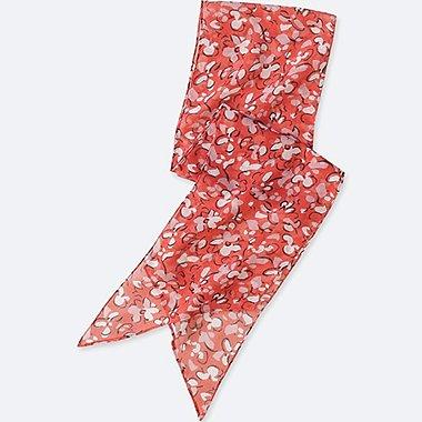 WOMEN BUTTERFLY-PRINT SKINNY SCARF, RED, medium