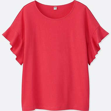 WOMEN FRILLED SLEEVED CREW NECK T-SHIRT
