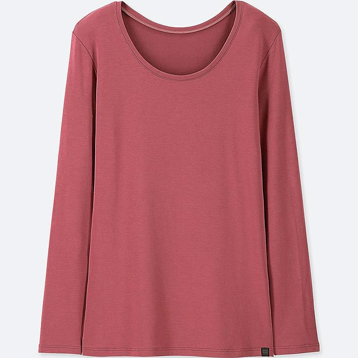 WOMEN HEATTECH EXTRA WARM CREW NECK T-SHIRT, RED, large