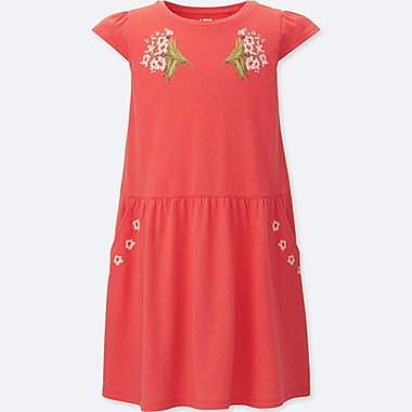 GIRLS STUDIO SANDERSON FOR UNIQLO GRAPHIC DRESS, RED, medium