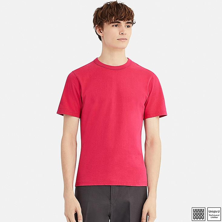 MEN U CREW NECK SHORT-SLEEVE T-SHIRT, RED, large