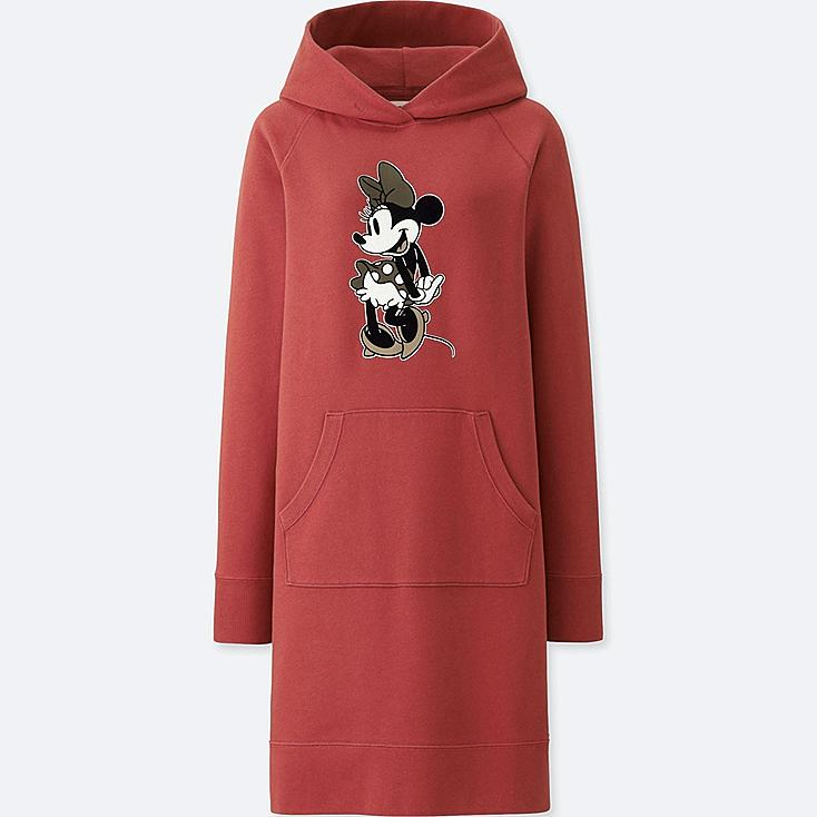 WOMEN MICKEY STANDS GRAPHIC SWEAT LONG-SLEEVE DRESS, RED, large