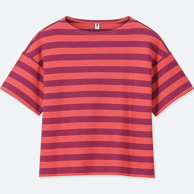 GIRLS STRIPED HALF-SLEEVE T-SHIRT, RED, large