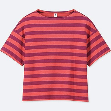GIRLS STRIPED HALF-SLEEVE T-SHIRT, RED, medium