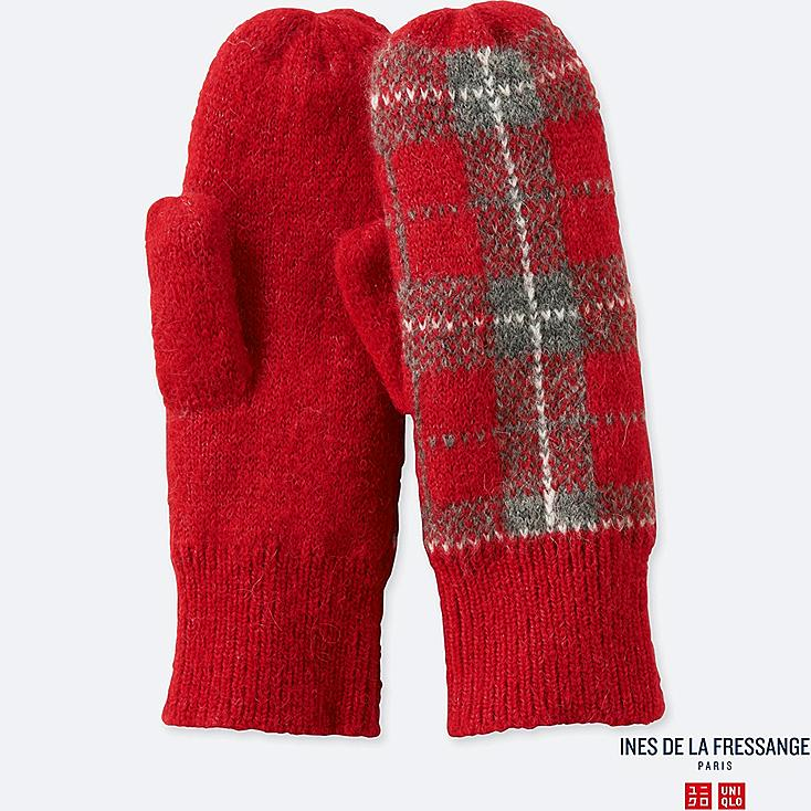 WOMEN JACQUARD KNITTED MITTENS (INES DE LA FRESSANGE), RED, large