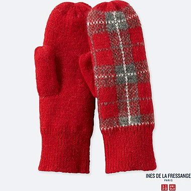 WOMEN JACQUARD KNITTED MITTENS (INES DE LA FRESSANGE), RED, medium