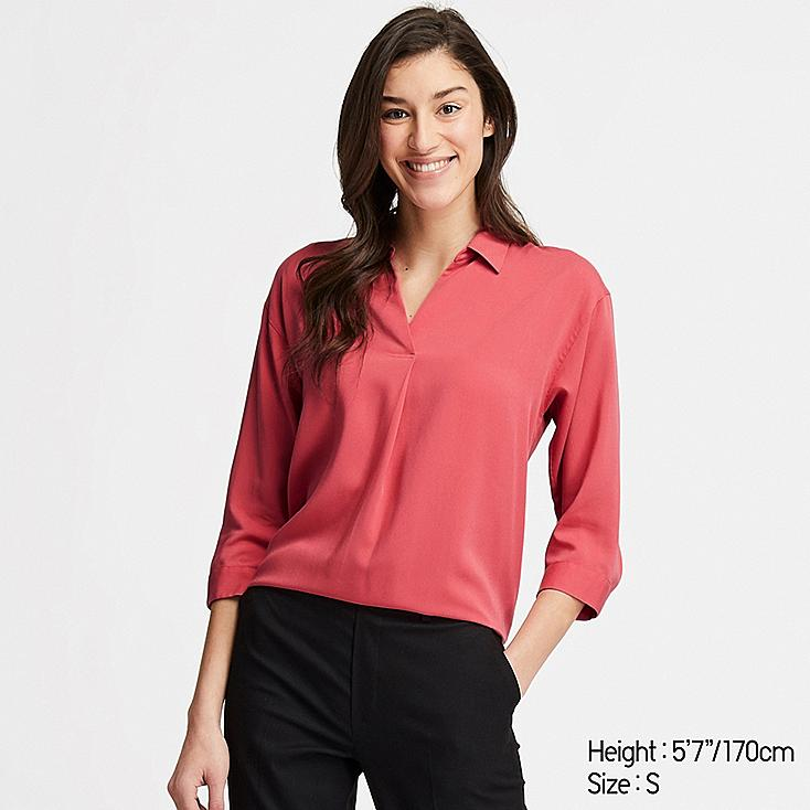 WOMEN RAYON SKIPPER COLLAR 3/4 SLEEVE BLOUSE, RED, large