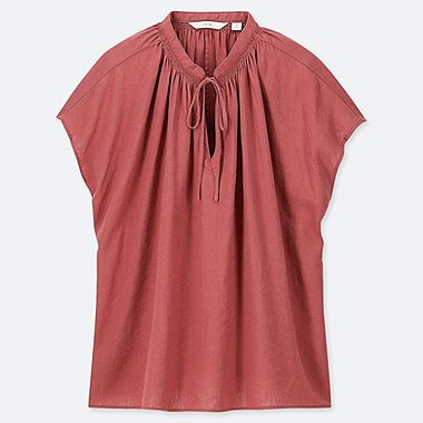 WOMEN LINEN BLEND SHORT-SLEEVE BLOUSE, RED, medium
