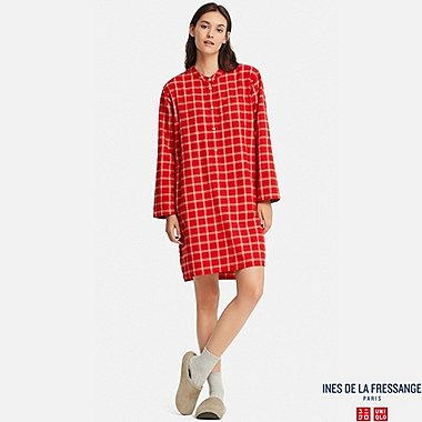 WOMEN FLANNEL LONG-SLEEVE PAJAMAS (INES DE LA FRESSANGE), RED, medium