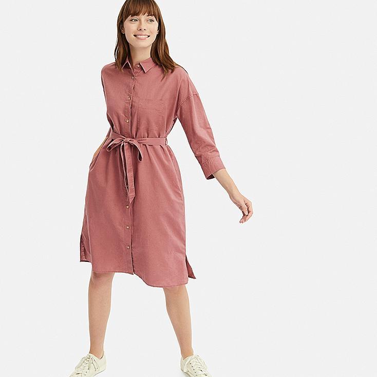 7fce8e0b5da WOMEN LINEN BLEND 3 4 SLEEVED SHIRT DRESS