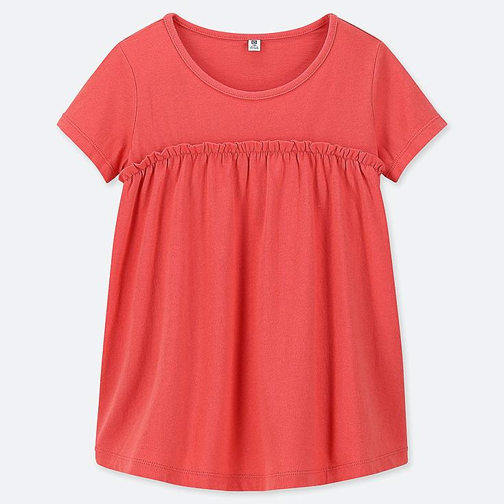 GIRLS GATHERED FRILL CREW NECK SHORT-SLEEVE T-SHIRT, RED, large