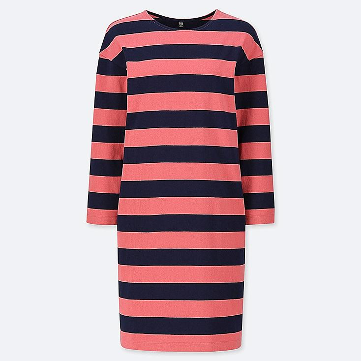 WOMEN WIDE STRIPED LONG-SLEEVE DRESS, RED, large