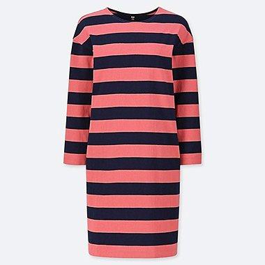 WOMEN WIDE STRIPED LONG-SLEEVE DRESS, RED, medium