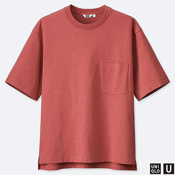 MEN U OVERSIZE CREW NECK SHORT-SLEEVE T-SHIRT, RED, large