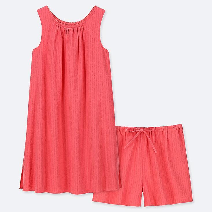 WOMEN COTTON PAJAMAS SLEEVELESS DRESS SET, RED, large
