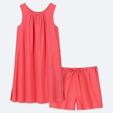 WOMEN COTTON PAJAMAS SLEEVELESS DRESS SET, RED, medium