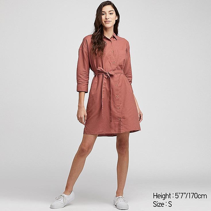 WOMEN LINEN BLEND 3/4 SLEEVE SHIRT DRESS, RED, large