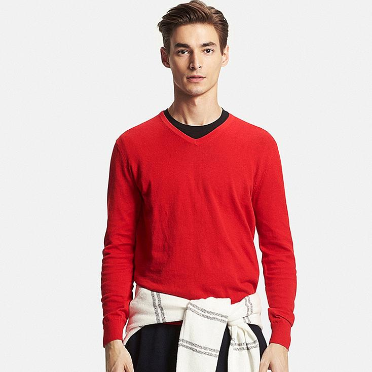 Men's Cotton Cashmere V-Neck Sweater, RED, large