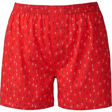 Mens Woven Printed Boxers, RED, medium