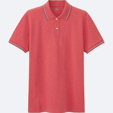 MENS DRY PIQUE SPREAD COLLAR POLO SHIRT, RED, medium