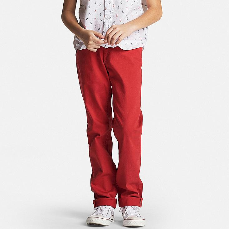 Boys Twill Elastic Waist Easy Pants, RED, large