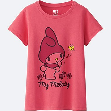 GIRLS SANRIO SHORT SLEEVE GRAPHIC T-SHIRT, RED, medium