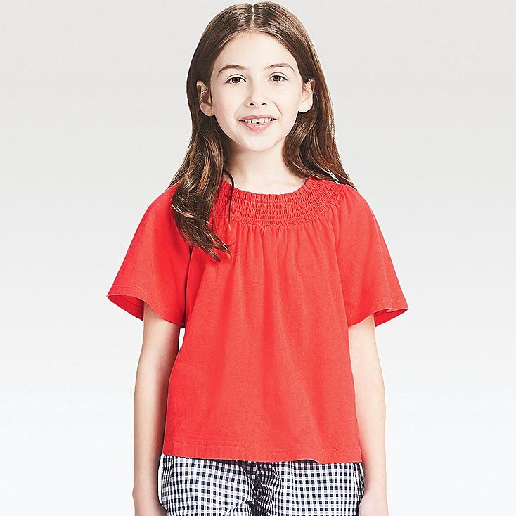 GIRLS SHIRRED SHORT-SLEEVE T-SHIRT, RED, large