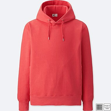 MEN U LONG-SLEEVE HOODED SWEATSHIRT, RED, medium
