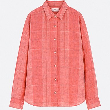 WOMEN PREMIUM LINEN CHECKED LONG-SLEEVE SHIRT, RED, medium