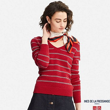 WOMEN IDLF STRIPED V-NECK SWEATER, RED, medium