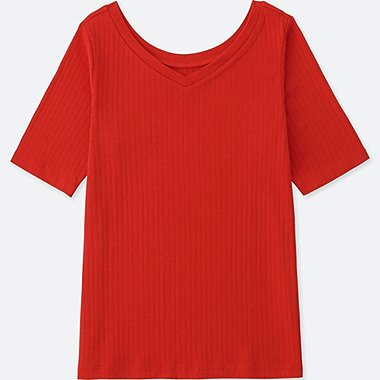 WOMEN 2-WAY RIBBED HALF-SLEEVE T-SHIRT, RED, medium