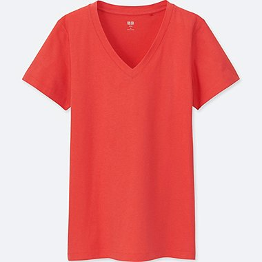 WOMEN SUPIMA COTTON JERSEY V NECK T-SHIRT