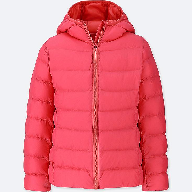 GIRLS LIGHT WARM PADDED PARKA, RED, large