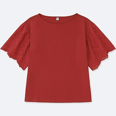 WOMEN LACE HALF-SLEEVE T-SHIRT, RED, medium