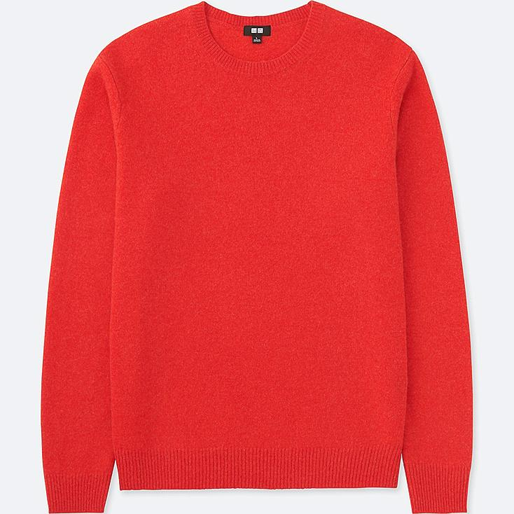 MEN PREMIUM LAMBSWOOL CREW NECK LONG-SLEEVE SWEATER, RED, large