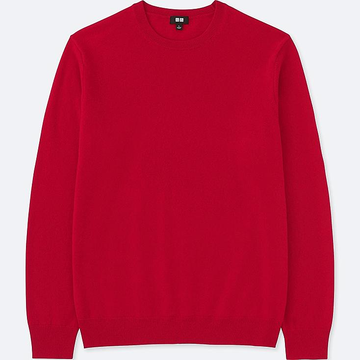 MEN CASHMERE CREW NECK LONG-SLEEVE SWEATER, RED, large